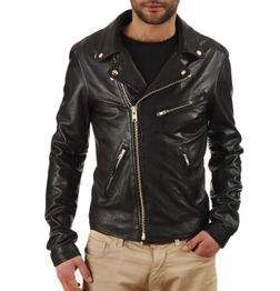 DESIGNER BLACK LEATHER BIKER JACKET