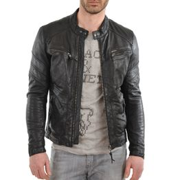 SLIM FIT BLACK FAUX LEATHER BIKER JACKET 64b1f4d76542