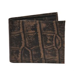 PREMIUM CROC PRINT BROWN LEATHER WALLET