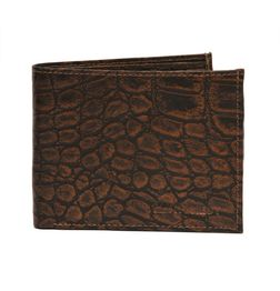 HIDEMARK CROC PRINT BROWN LEATHER WALLET