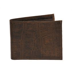 CLASSY CROC PRINT BROWN LEATHER WALLET