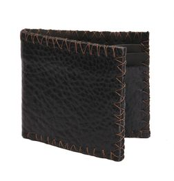 VINTAGE STYLE TEXTURED LEATHER WALLET - BLACK
