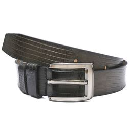 HIDEMARK DARK BOTTLE GREEN CASUAL BELT WITH ANIMAL PRINT