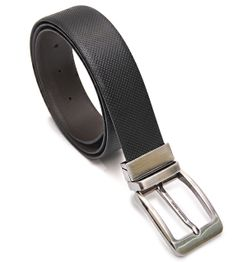 BROWN AND BLACK REVERSIBLE LEATHER BELT WITH TURN BUCKLE