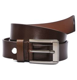 PATTERN EMBOSSED BROWN LEATHER BELT