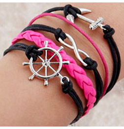 WOMEN'S GENUINE LEATHER BRACELET WITH CHARMS-PINK