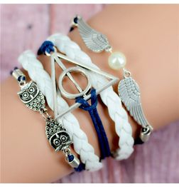 WOMEN'S GENUINE LEATHER BRACELET WITH CHARMS~ BLUE OWL