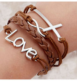 WOMEN'S GENUINE LEATHER BRACELET WITH CHARMS-BROWN LOVE