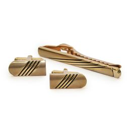 BLACK LINES GOLD TONE CUFFLINKS AND TIE PIN SET