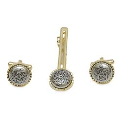 TWO-TONE ANTIQUE FINISH CUFFLINKS AND TIE-PIN SET