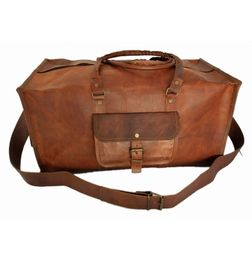 """RUSTICTOWN 24"""" HANDMADE LEATHER SQUARE TRAVEL BAG"""