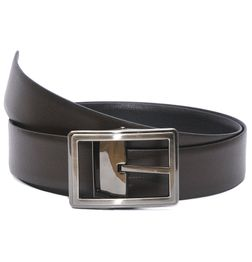 BLACK-BROWN REVERSIBLE LEATHER BELT WITH FLIP BUCKLE