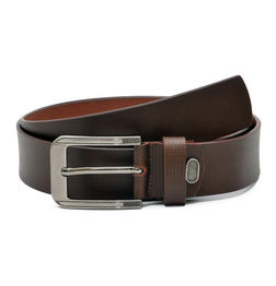 BROWN TEXTURED LEATHER BELT