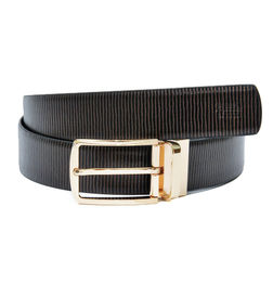 METALLIC PRINT LEATHER BELT WITH DRESSY GOLD TURN BUCKLE