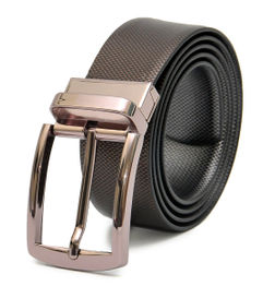 REVERSIBLE LEATHER BELT WITH DRESSY BRONZE TURN BUCKLE