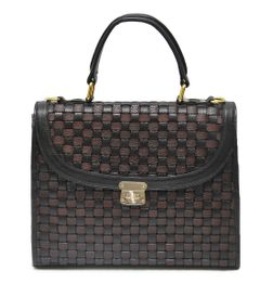 HIDEMARK HAND CRAFTED MESH PATTERN LEATHER SATCHEL HANDBAG
