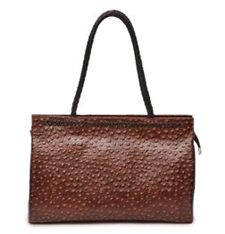 HIDEMARK OSTRICH PRINT LEATHER LADIES HANDBAG IN BROWN COLOR