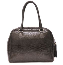 HIDEMARK CROC PRINT LADIES LEATHER HANDBAG IN BLACK