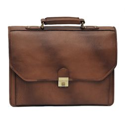 TAN & BROWN DOUBLE SHADE LEATHER LAPTOP BAG