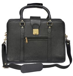 HIDEMARK DOUBLE HANDLE BLACK LEATHER LAPTOP BAG - 14 inch