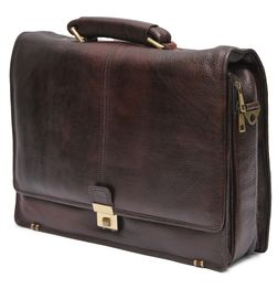 HIDEMARK CUT FLAP BROWN LEATHER LAPTOP BAG - 16 inch