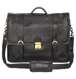 HIDEMARK TOP HANDLE BLACK LEATHER LAPTOP BAG