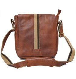 TRENDY TAN LEATHER SLING BAG