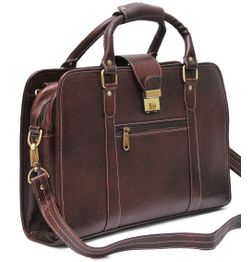 HIDEMARK DOUBLE HANDLE BROWN LEATHER LAPTOP BAG