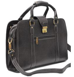 DOUBLE HANDLE BLACK LEATHER LAPTOP BAG - 14 inch