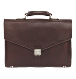 HIDEMARK BROWN LEATHER LAPTOP BAG V FLAP