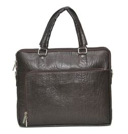 DESIGNER BROWN LEATHER LAPTOP BAG IN ELEPHANT EMBOSSED TEXTURE