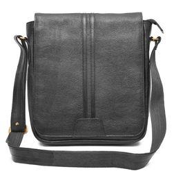 TRENDY BLACK LEATHER SLING BAG