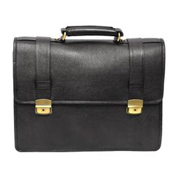 BLACK LEATHER LAPTOP BAG