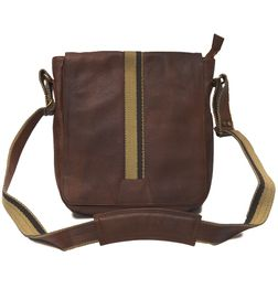 TRENDY BROWN LEATHER SLING BAG