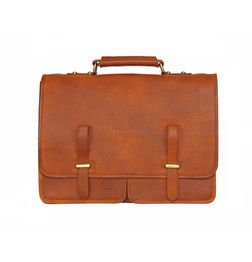 TAN BROWN LEATHER LAPTOP BAG