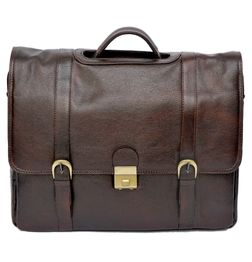 HIDEMARK TOP HANDLE BROWN LEATHER LAPTOP BAG : 15""
