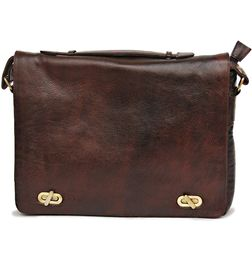 BROWN LEATHER MESSENGER LAPTOP BAG