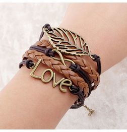 WOMEN'S GENUINE LEATHER BRACELET WITH CHARMS~ BROWN