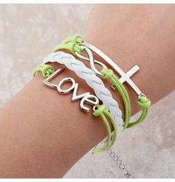 WOMEN'S GENUINE LEATHER BRACELET WITH CHARMS~GREEN