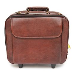 TAN BROWN LEATHER TROLLEY LAPTOP BAG