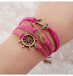 WOMEN'S GENUINE LEATHER BRACELET WITH CHARMS~PINK