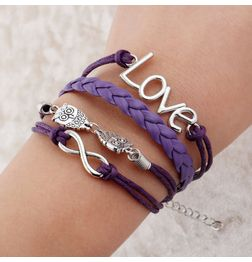 WOMEN'S GENUINE LEATHER BRACELET WITH CHARMS~PURPLE