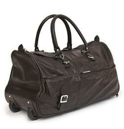 BROWN LEATHER DUFFLE TROLLEY BAG 22""