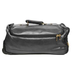 BLACK LEATHER DUFFLE TROLLEY BAG 22""