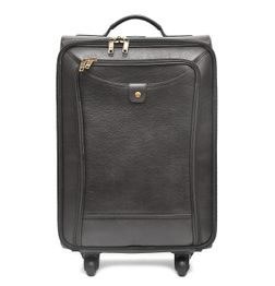 BLACK GRAINLEATHER CABIN LUGGAGE WITH TROLLEY