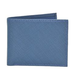 BLUE TEXTURED PRINT ITALIAN LEATHER WALLET
