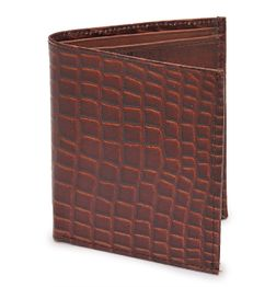 CROC PRINT RUST BROWN BI-FOLD LEATHER WALLET