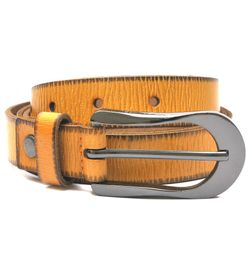HIDEMARK LADIES LEATHER BELT IN SUMMER YELLOW WITH CROSS STITCH TRIM
