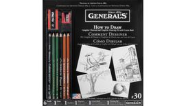 General's How to Draw Kit - Complete Charcoal & Graphite Drawing Kit with Lesson Book - Art Set of 11 Pieces