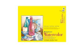 Strathmore 300 Series Watercolor 18''x24'' Natural White Medium & Smooth Grain 300 GSM Paper, Short-Side Tape Bound Pad of 12 Sheets